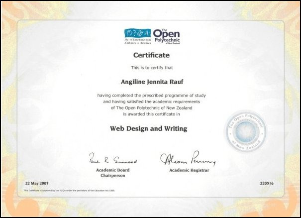 Certificate in Web Design & Writing